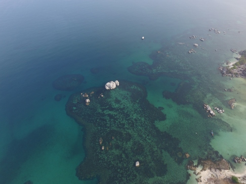 Blue Sea at Tanjung Tinggi Beach from 500 meters above